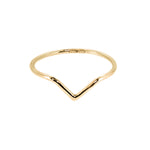 18ct yellow gold chevron ring. pointed nesting band. Handmade Stockholm Rose Designs