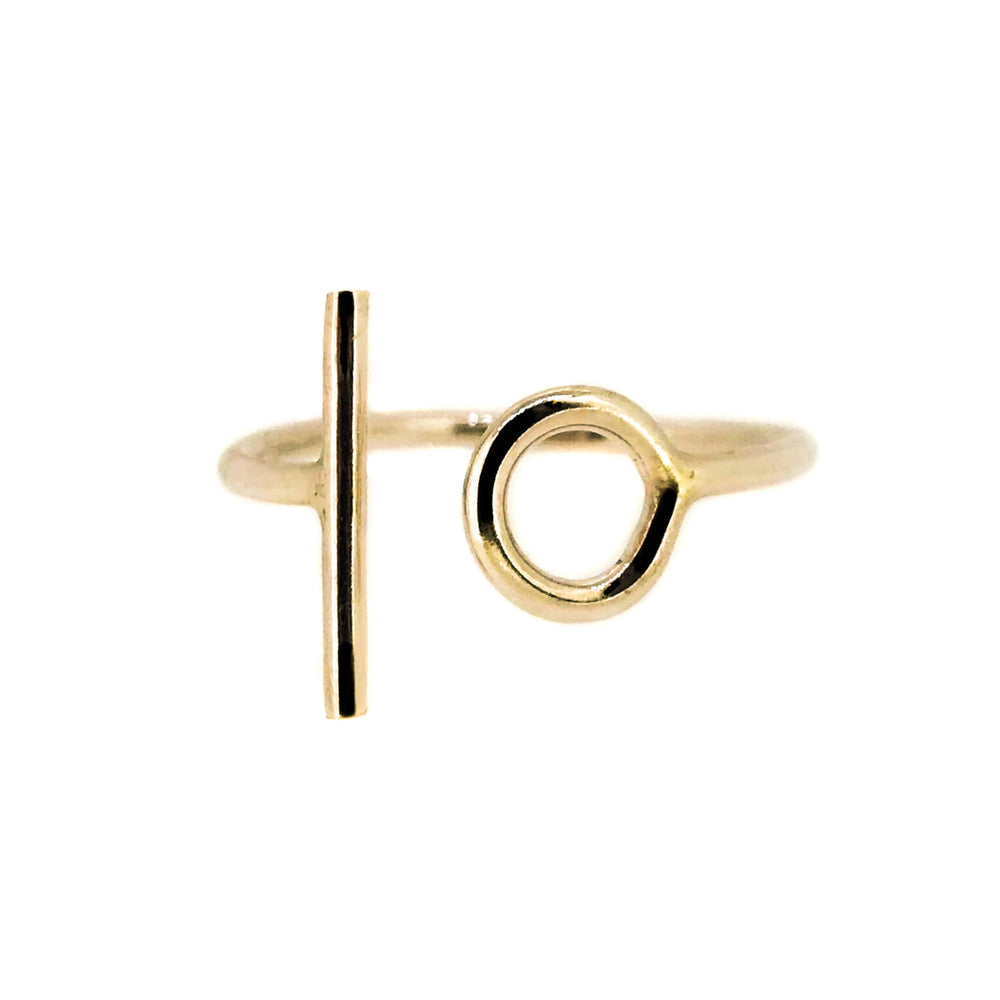 Circle and Line Ring - 9ct Yellow Gold