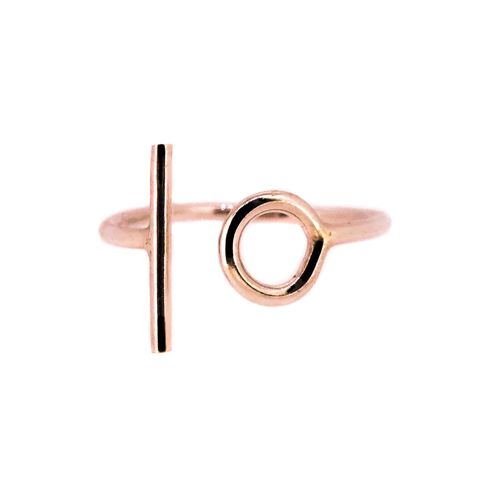Rose Gold circle and line ring. Unusual jewellery. minimalist ring