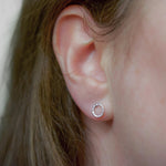 Hammered Circle Studs - Small | 18ct White Gold