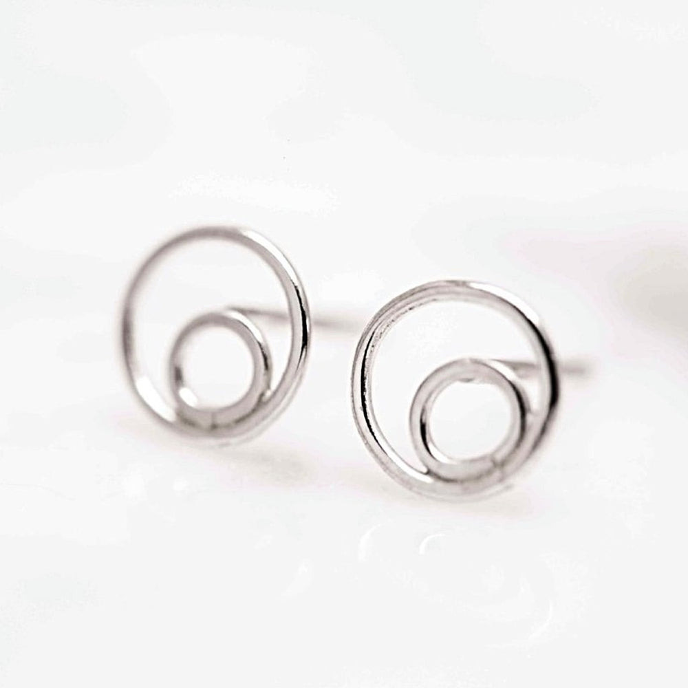 Double Circle Stud Earrings - Stockholm Rose Designs - Eco Friendly Jewellery
