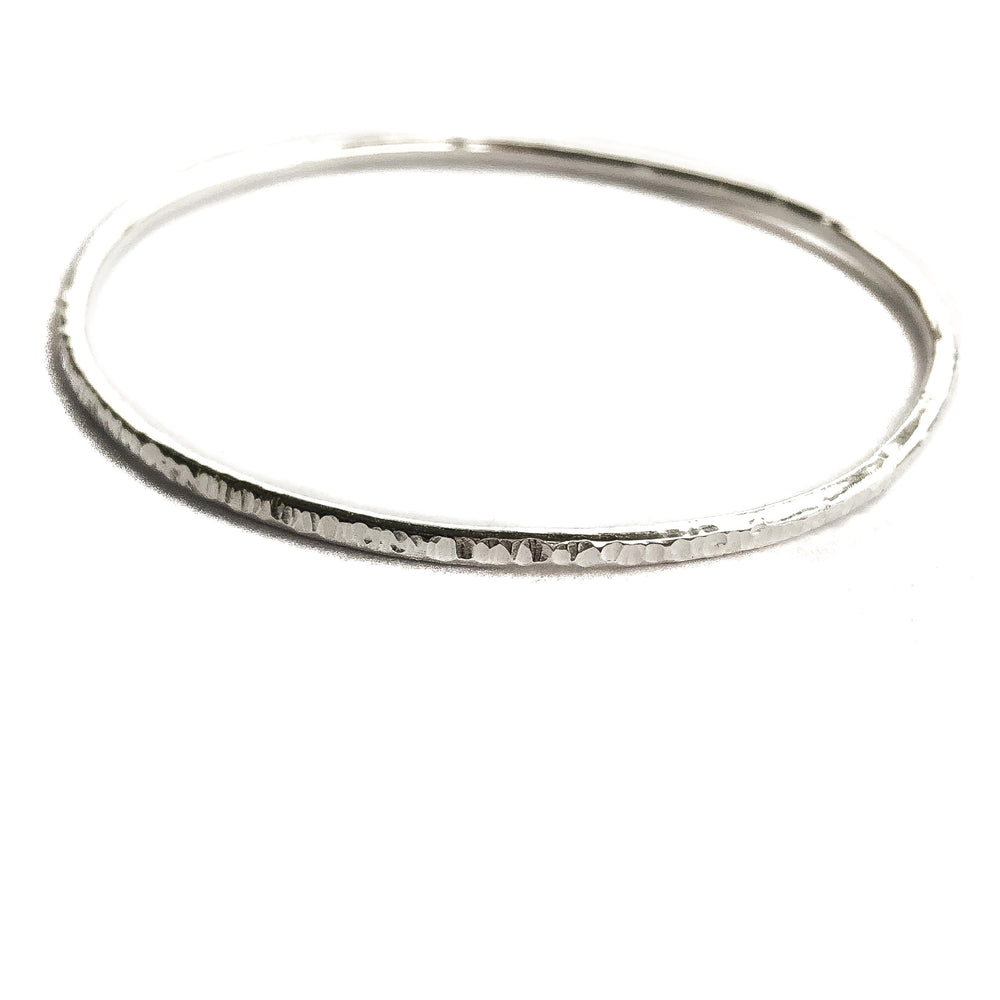 Thin Hammered Bangle | Sterling Silver