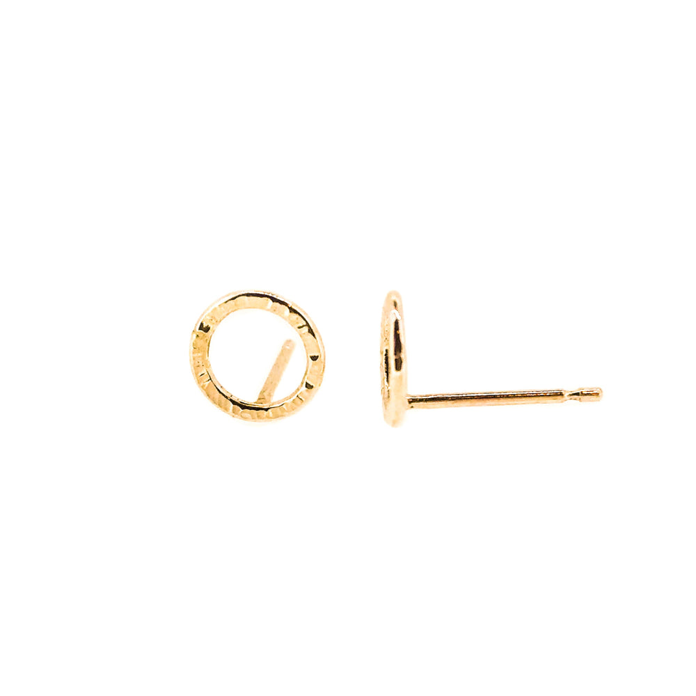 Hammered Circle Studs - Small - 18ct Yellow Gold