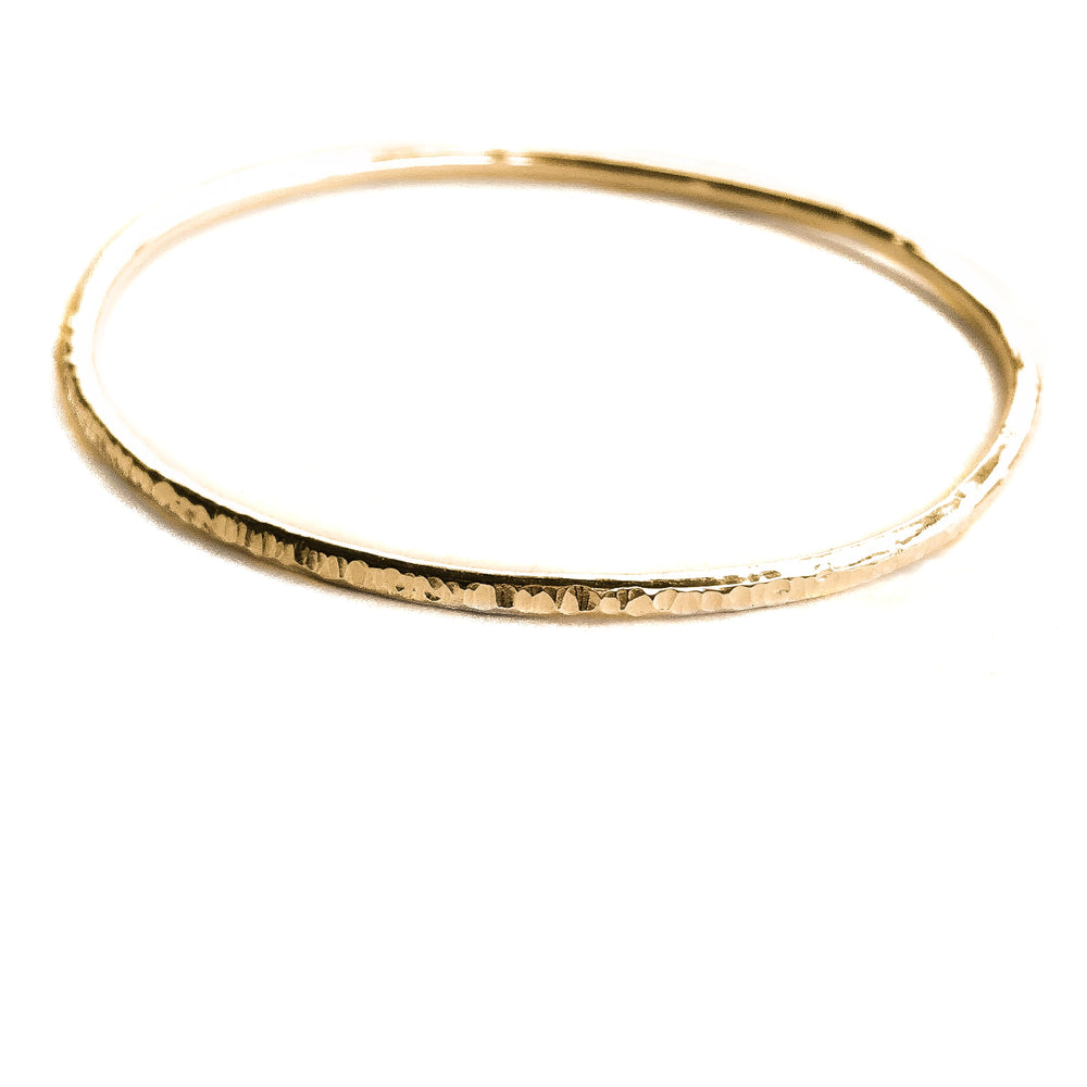 Thin Hammered Bangle | 18ct Rose Gold