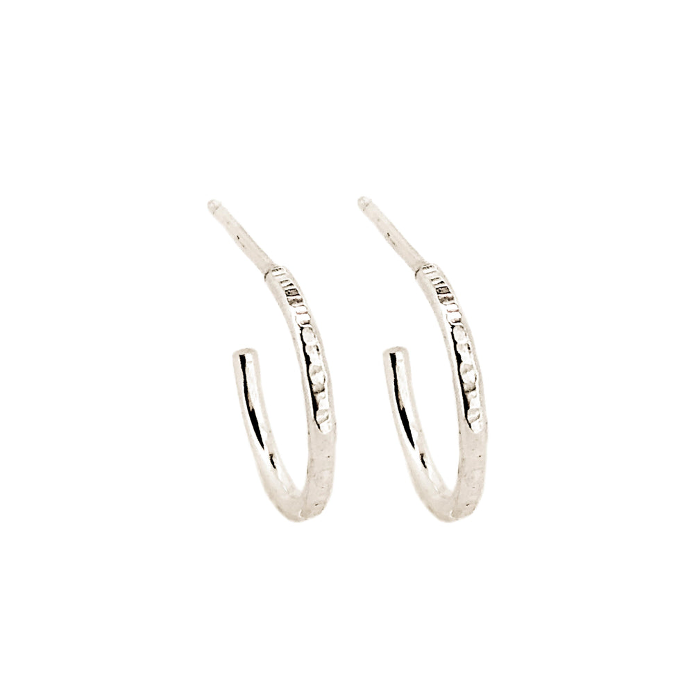 Hammered Hoop Earrings | 18ct White Gold