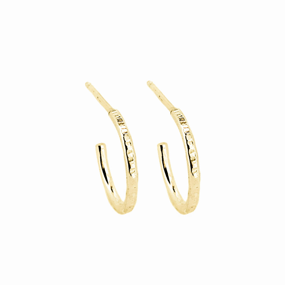 Hammered Hoop Earrings | 18ct Yellow Gold
