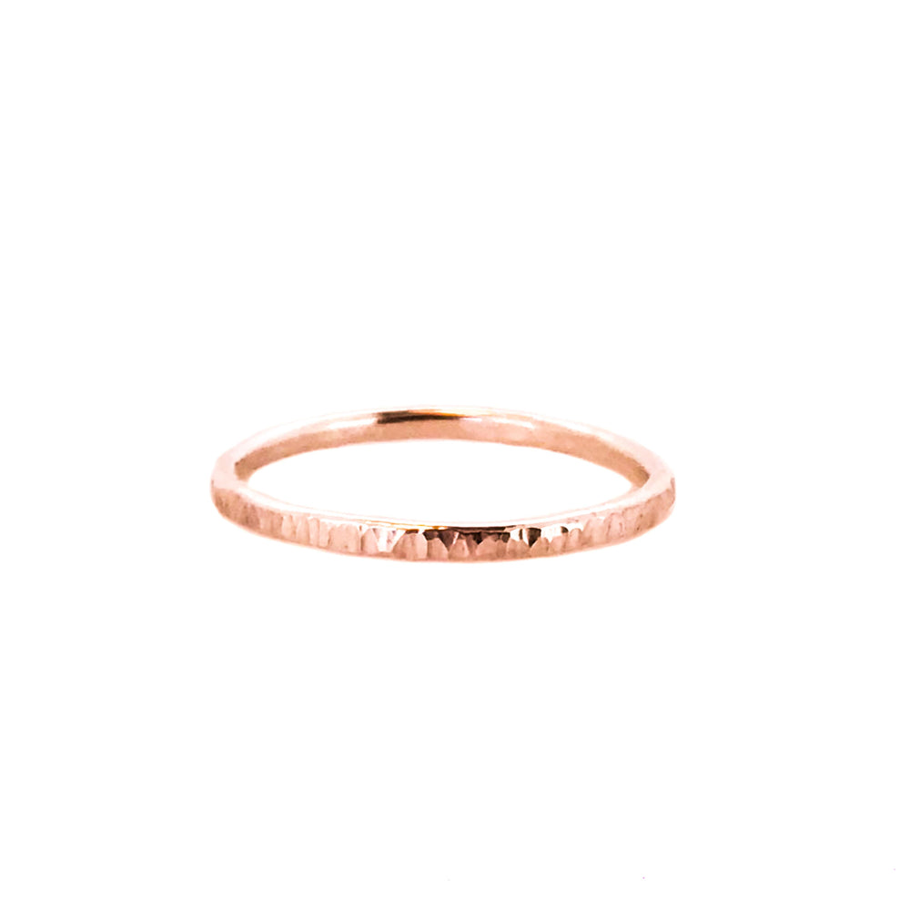 Hammered Stacking Ring - 9ct Rose Gold