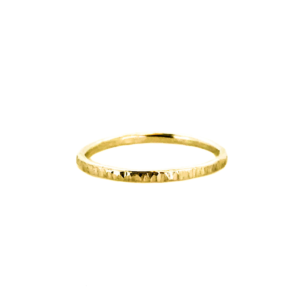 Hammered Stacking Ring - 9ct Gold