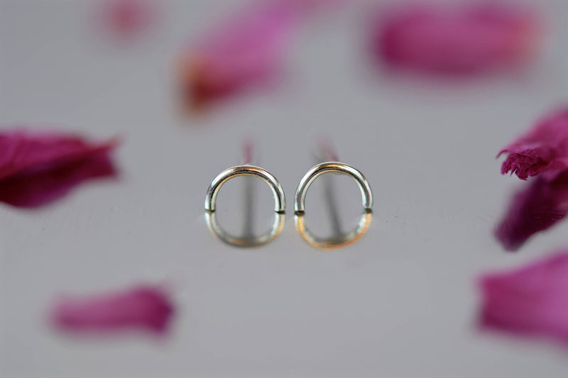 Semi Circle Stud Earrings