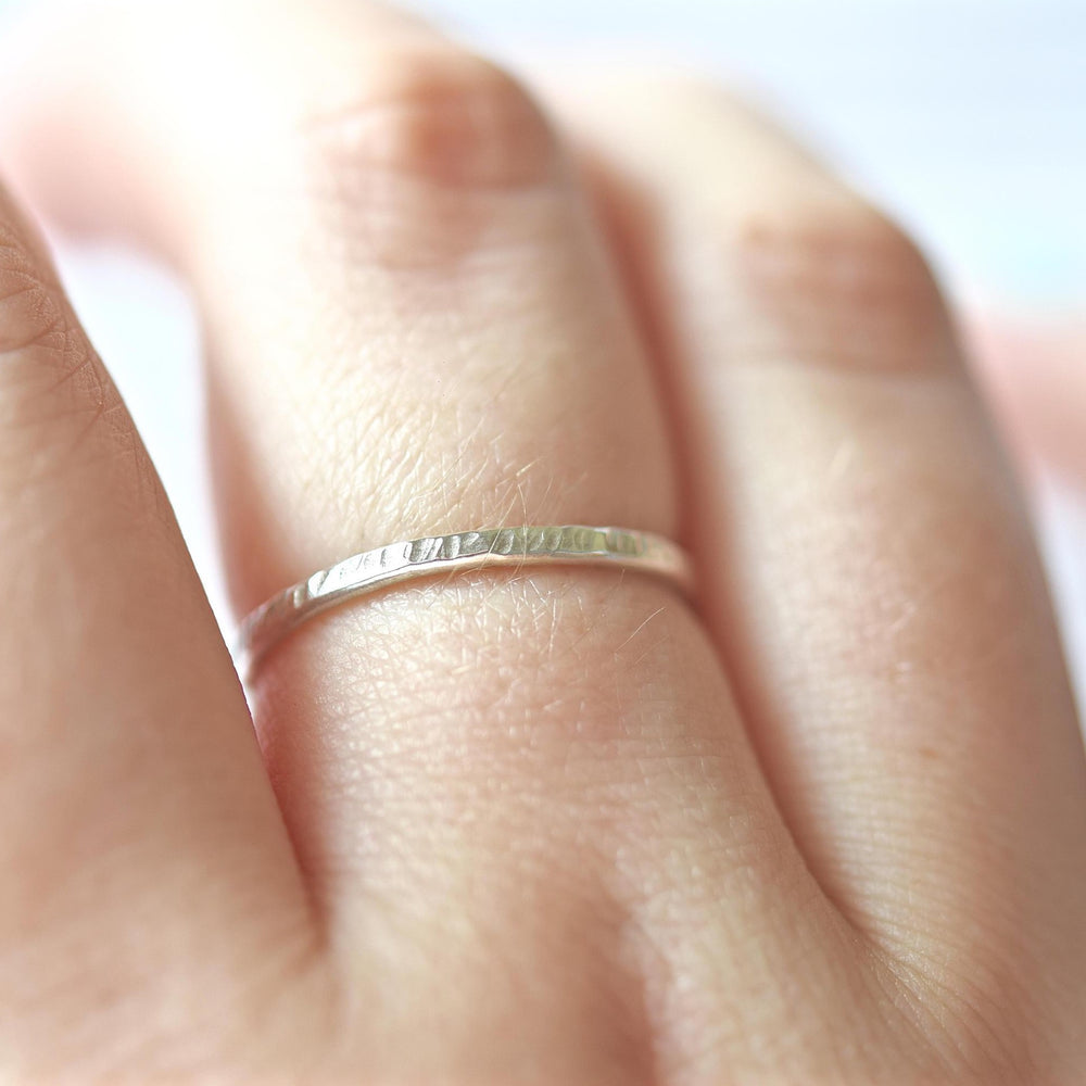 Hammered Stacking Ring | 18ct White Gold