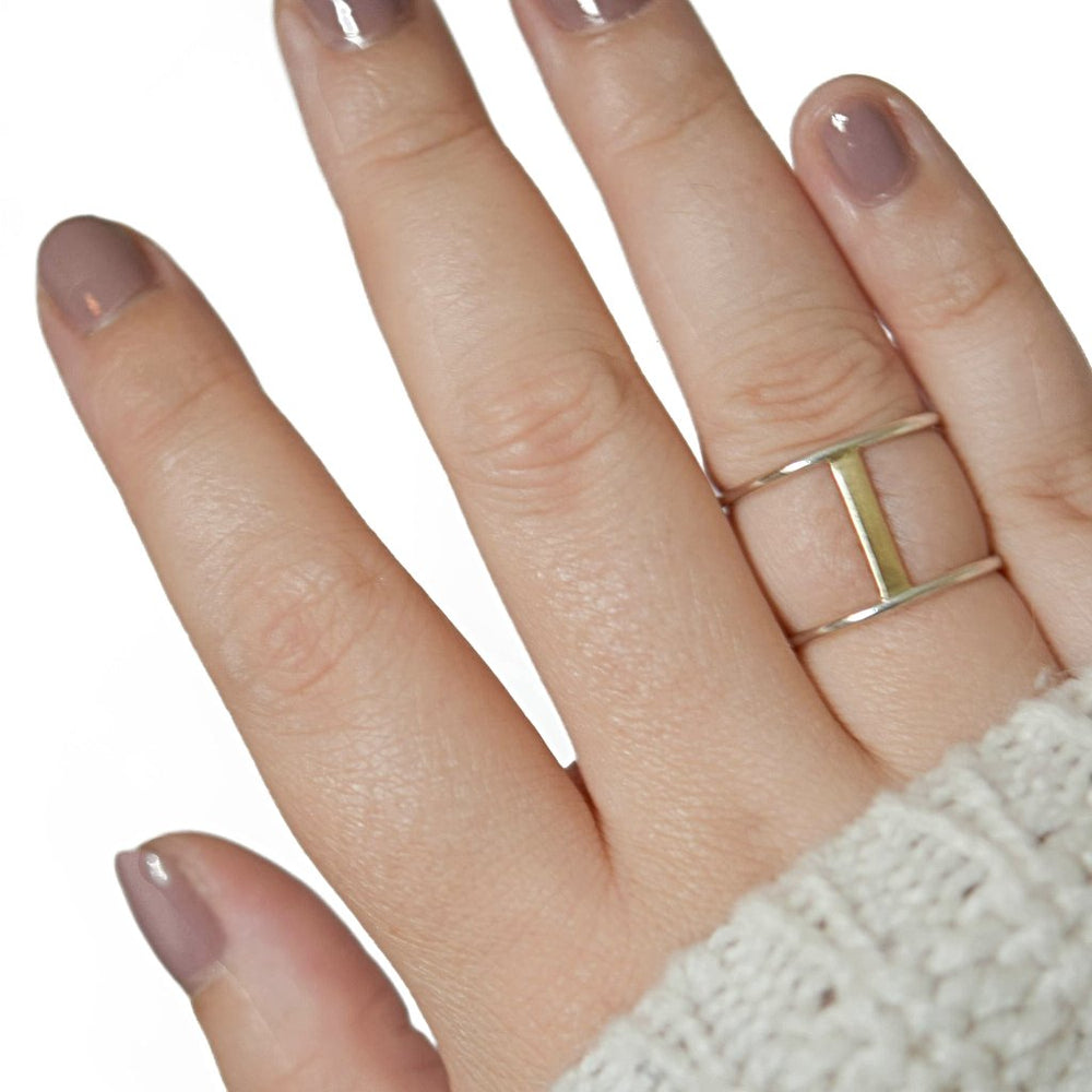 Gold Double Bar Ring