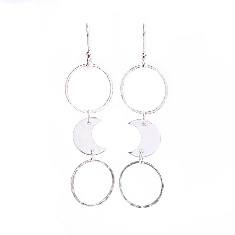 Dangly Moon Earrings - Stockholm Rose Designs - Eco Friendly Jewellery