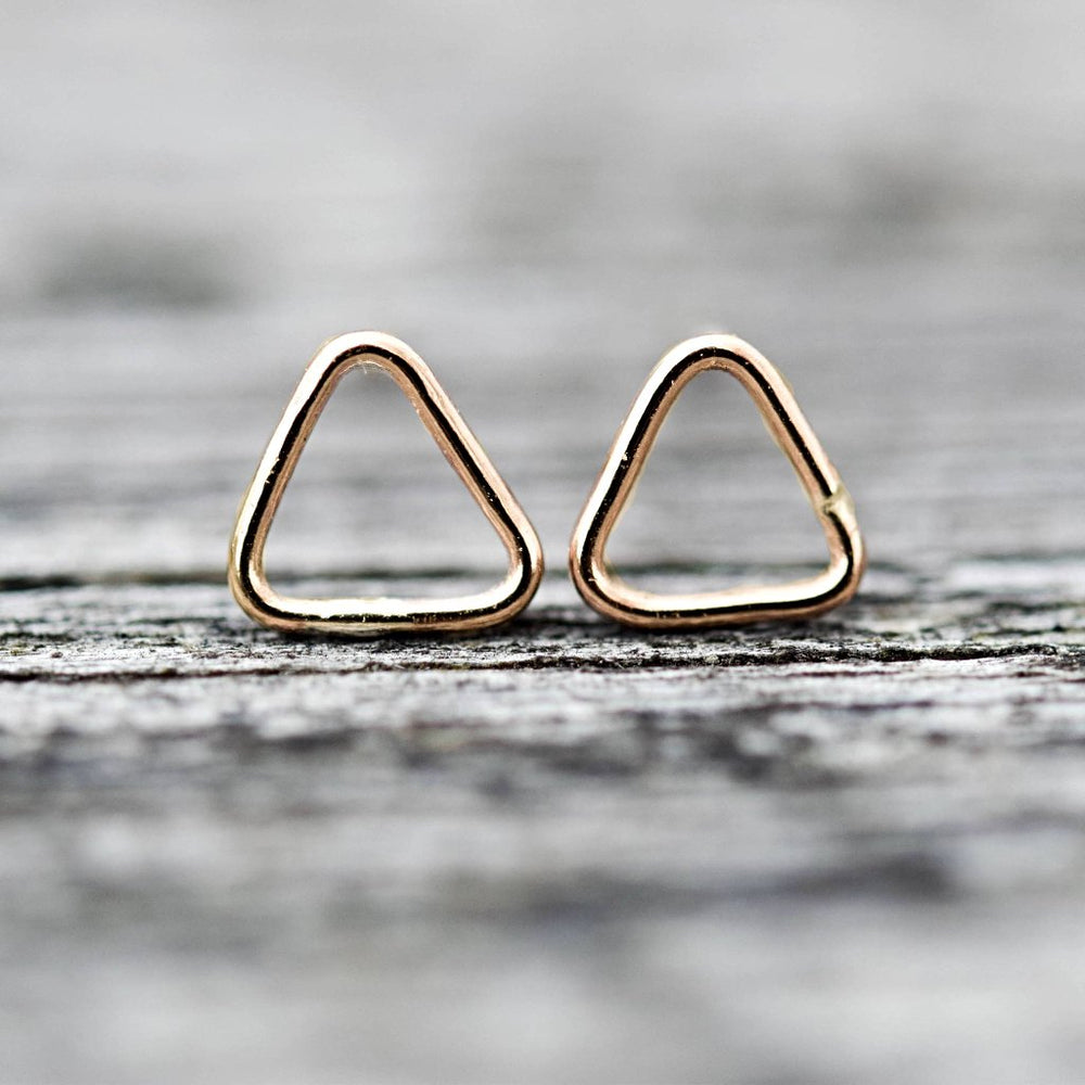 Solid Gold Triangle Stud Earrings