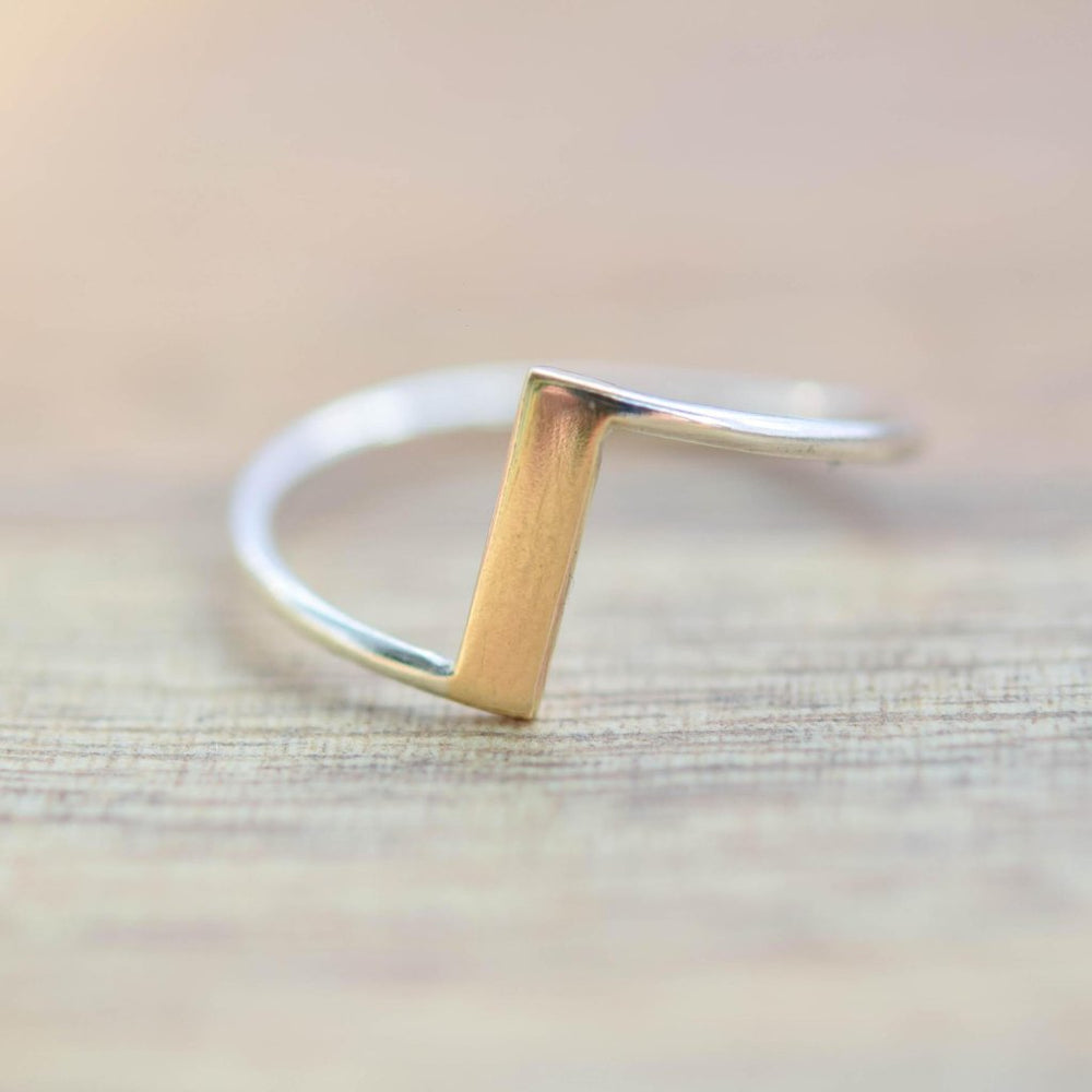 Gold Bar Ring - Stockholm Rose Designs - Eco Friendly Jewellery