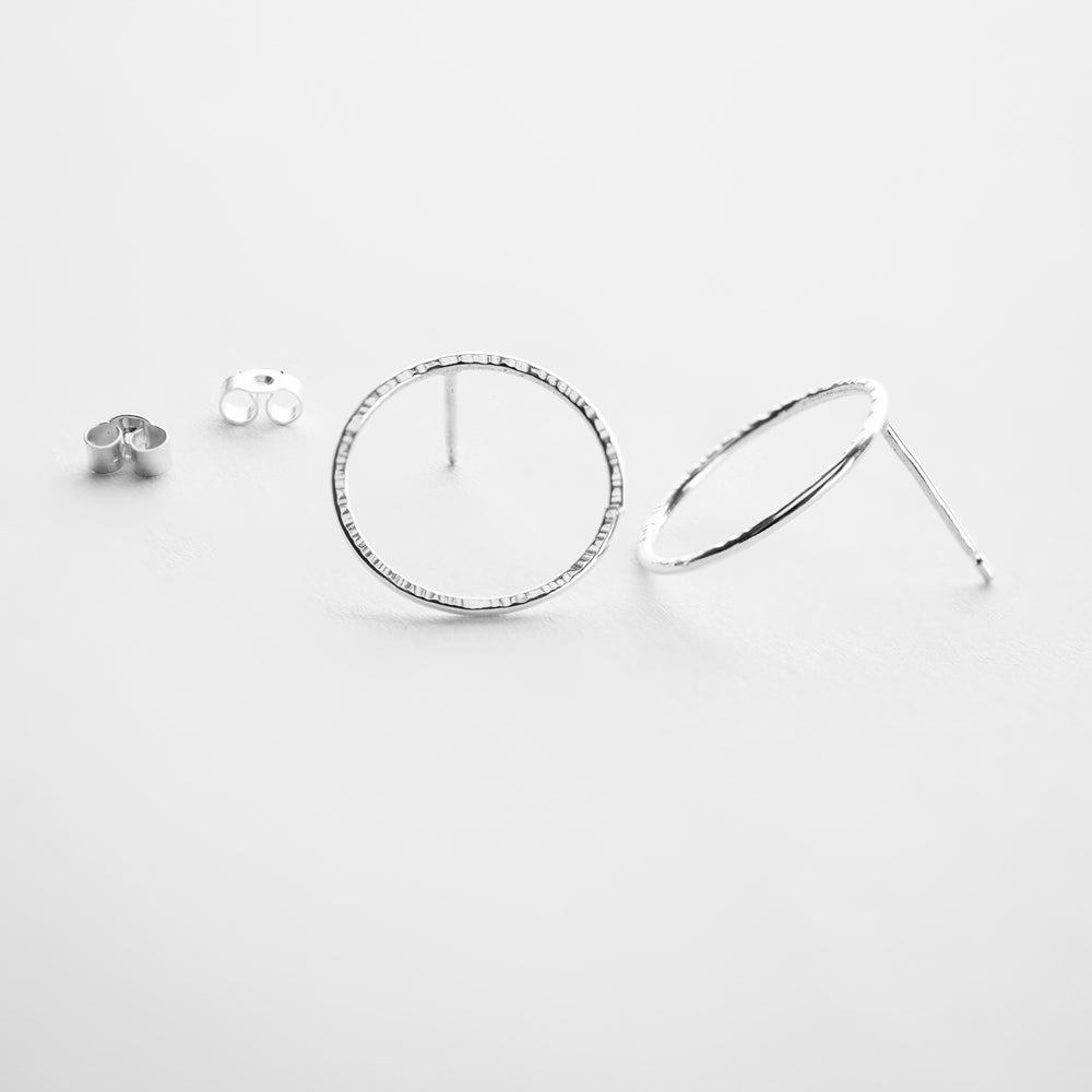 Hammered Circle Studs - Large