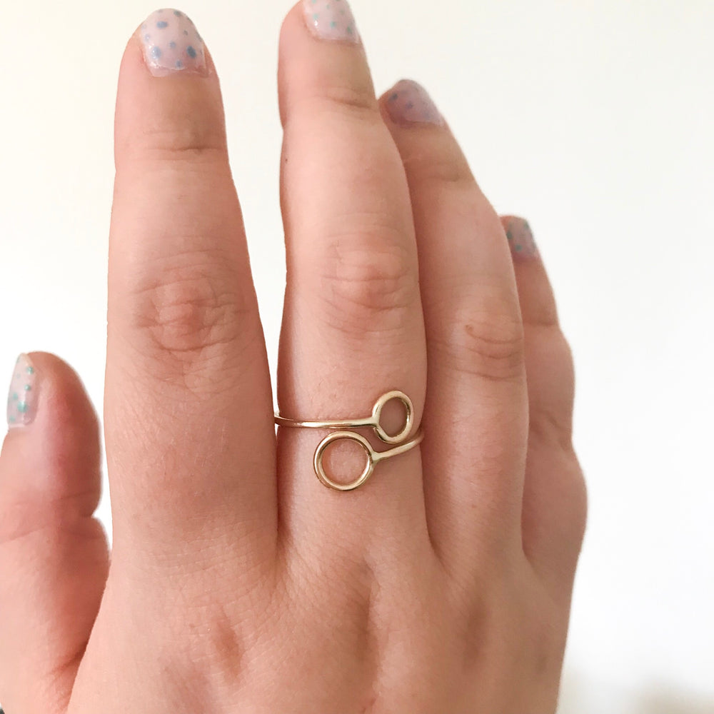 Circles Ring (Silver and Gold) - Stockholm Rose Designs - Eco Friendly Jewellery
