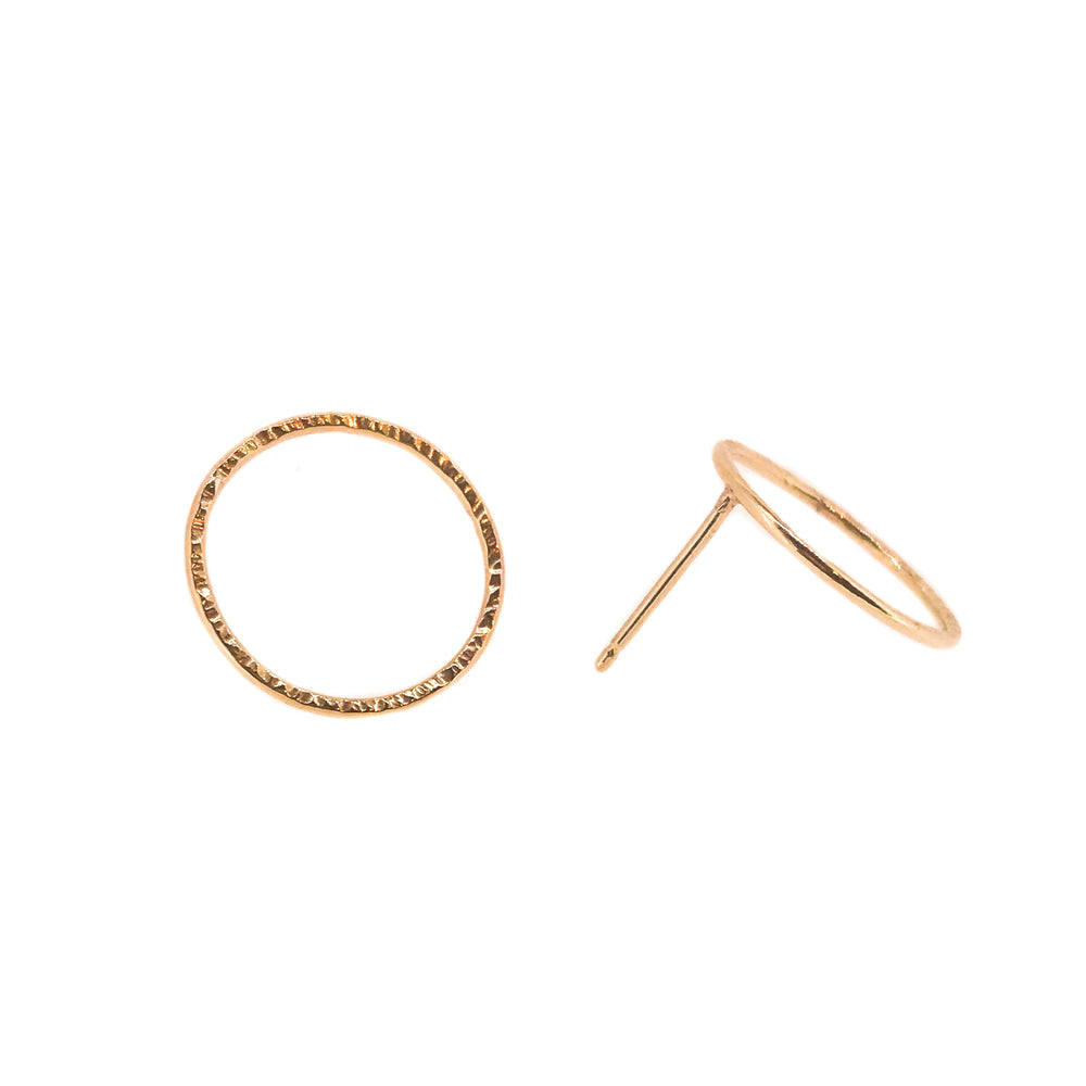 Hammered Circle Studs | 18ct Yellow Gold