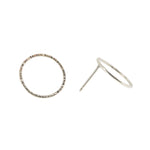 Hammered Circle Studs | 18ct White Gold