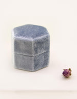 Velvet Double Ring Box in Rich Blue