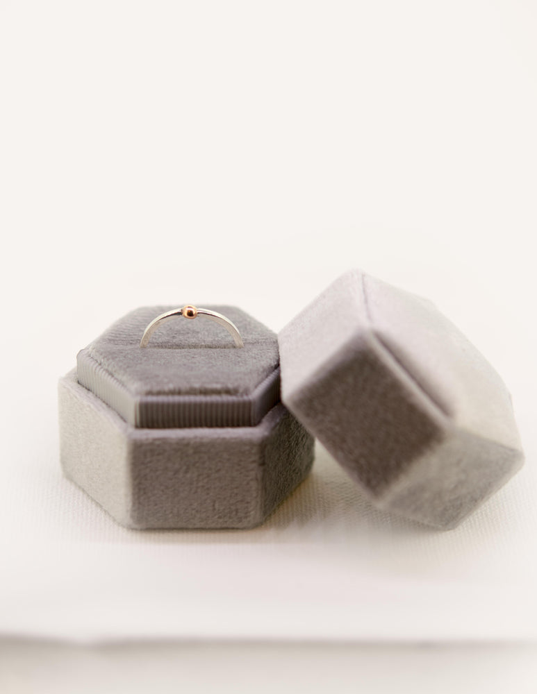 Velvet Ring Box in Silver Grey