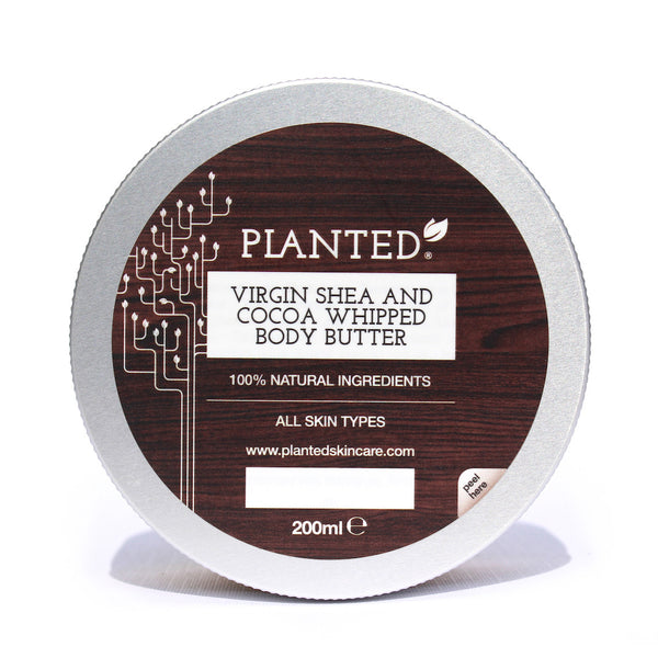 Planted all natural shea cocoa body butter front view