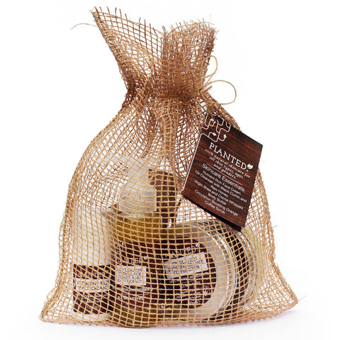 Planted all natural skincare gift set with bag
