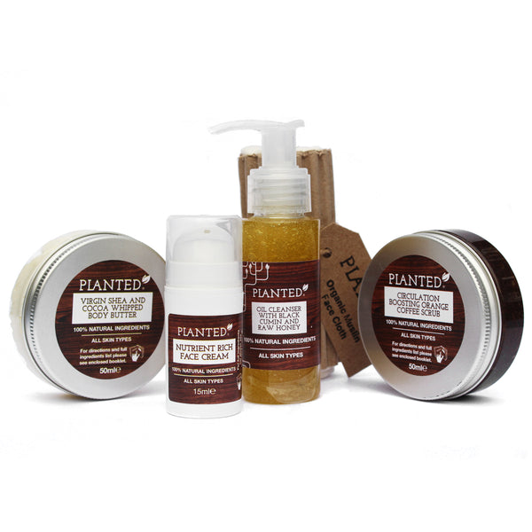Planted all natural skincare gift set products pictured