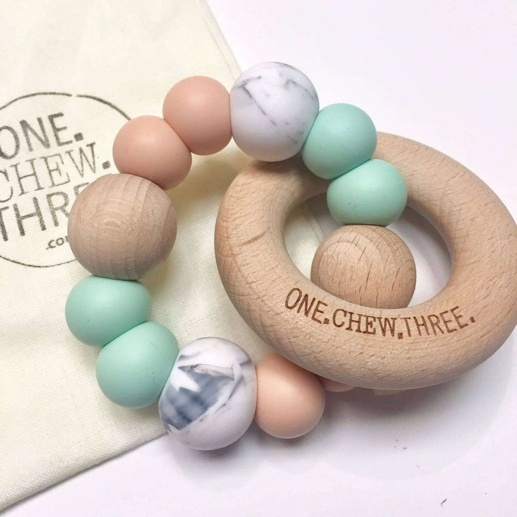 Single Rattle & Beech Wood Teether