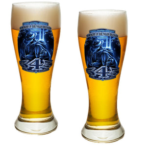 343 In Memory Of Our Fallen Brothers Pilsner Glass Set-Military Republic