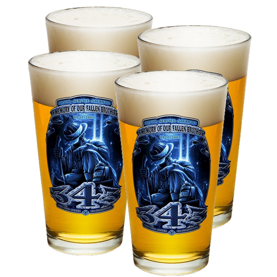 343 In Memory Of Our Fallen Brothers Pint Glasses-Military Republic