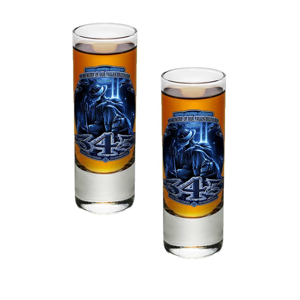 343 In Memory Of Our Fallen Brothers Shot Glasses-Military Republic
