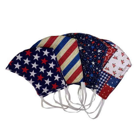 USA Made 4 Piece Shaped Patriotic Face Mask