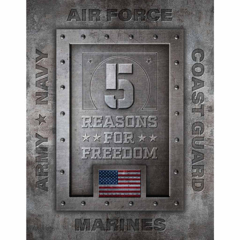 5 Reasons for Freedom Military branch Tin Sign