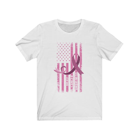 Breast Cancer Awareness Pink Flag Patriotic T-shirt