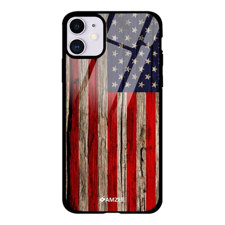 Wooden Texture USA Flag Glass Phone Case - Various Brands
