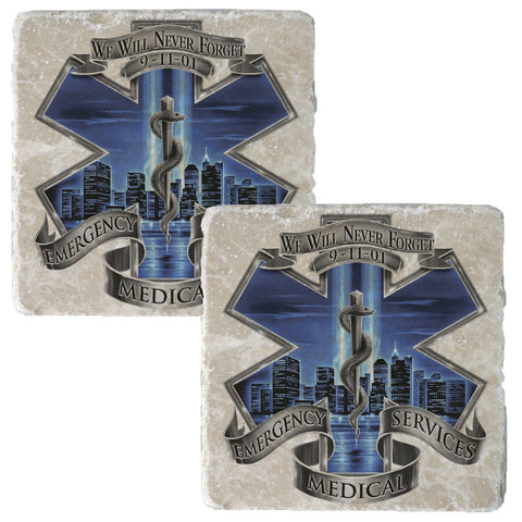 9/11 Blue Skies EMS Badge Coaster-Military Republic