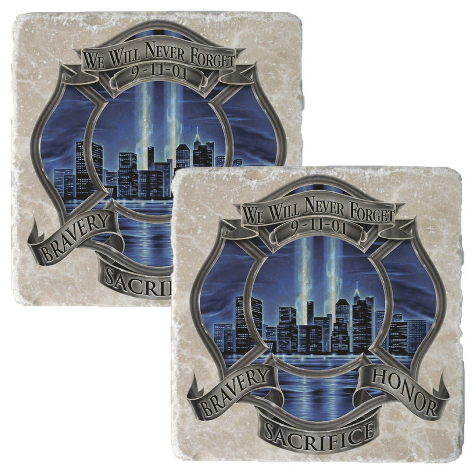 9/11 Blue Skies Firefighter Badge Coaster-Military Republic