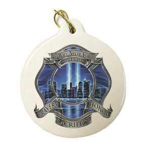 9/11 Blue Skies Firefighter Christmas Ornament-Military Republic