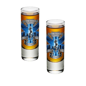 9/11 EMS Blue Skies Shot Glasses-Military Republic