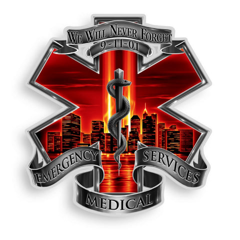 9/11 EMS Never Forget Decal-Claris Deals