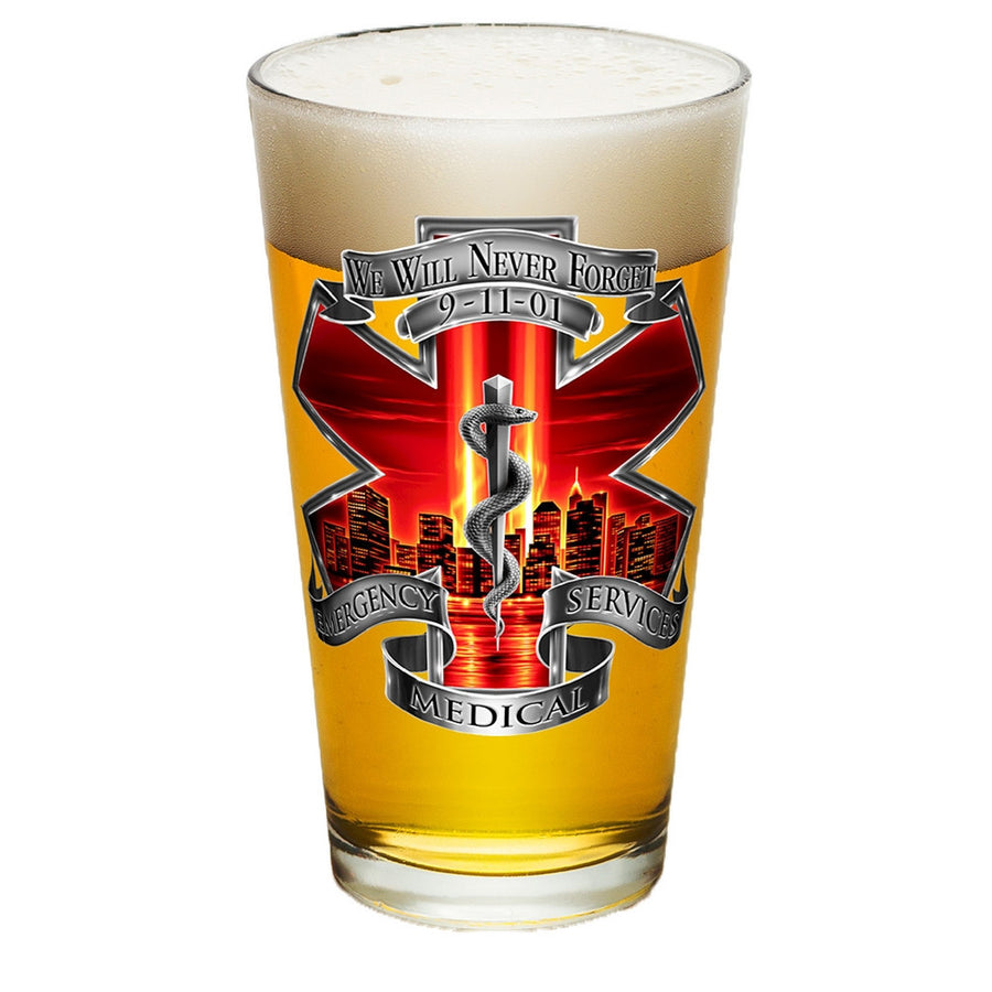 9/11 EMS Red Skies Pint Glasses-Military Republic