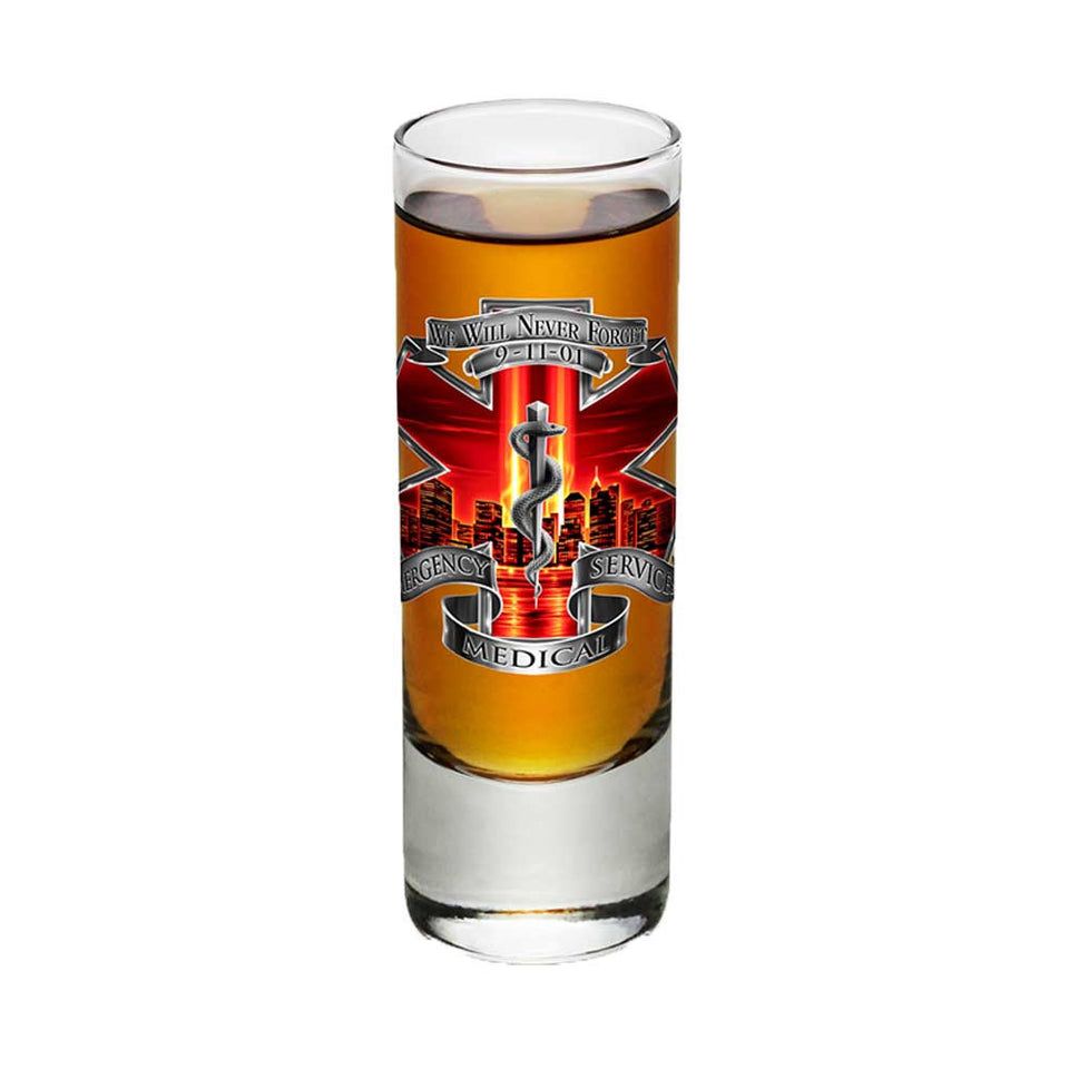 9/11 EMS Red Skies Shot Glasses-Military Republic