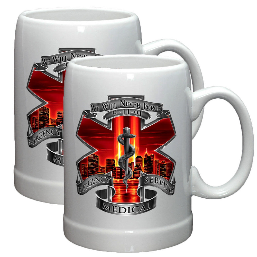 9/11 EMS Red Skies Stoneware Mug Set-Military Republic