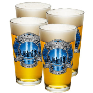 9/11 Firefighter Blue Skies Pint Glasses-Military Republic