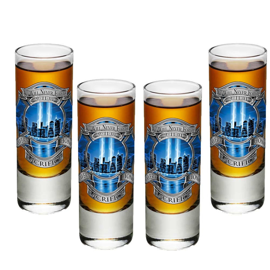 9/11 Firefighter Blue Skies Shot Glasses-Military Republic