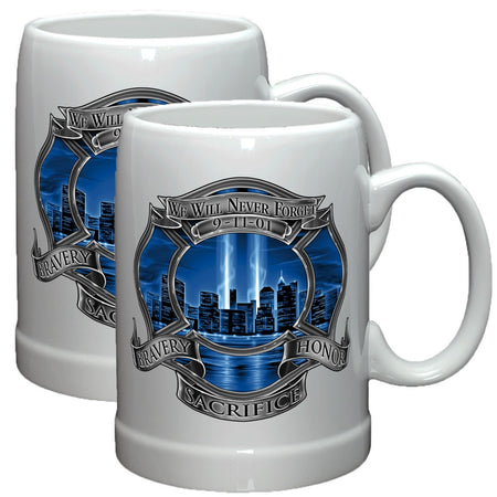 9/11 Firefighter Blue Skies Stoneware Mug Set-Military Republic