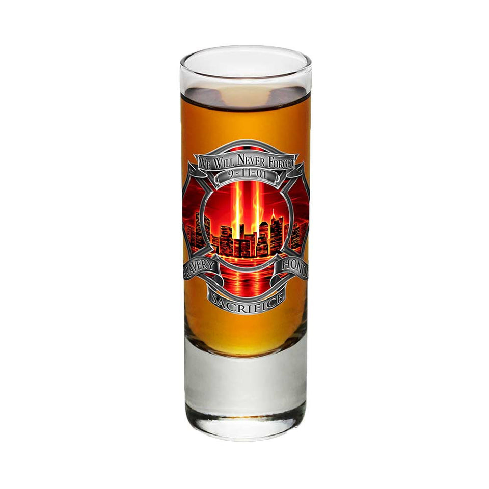 9/11 Firefighter Red Skies Shot Glasses-Military Republic