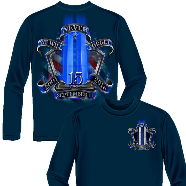 9/11 Memorial Navy Long Sleeve Shirt-Military Republic