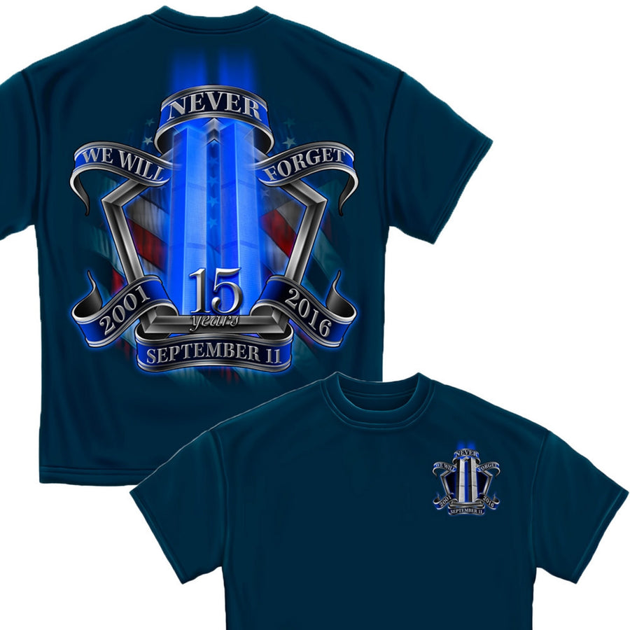 9/11 Memorial Navy T-Shirt-Military Republic