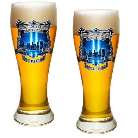 9/11 Police Blue Skies Pilsner Glass Set-Military Republic